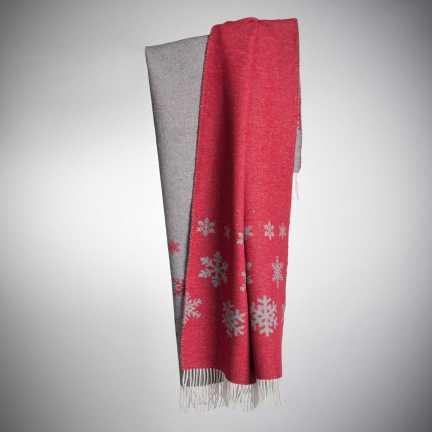 Art. Snowing Wool-Blend Blanket with fringes