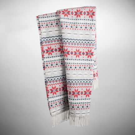 Art. Xmas Wool-Blend Blanket with fringes