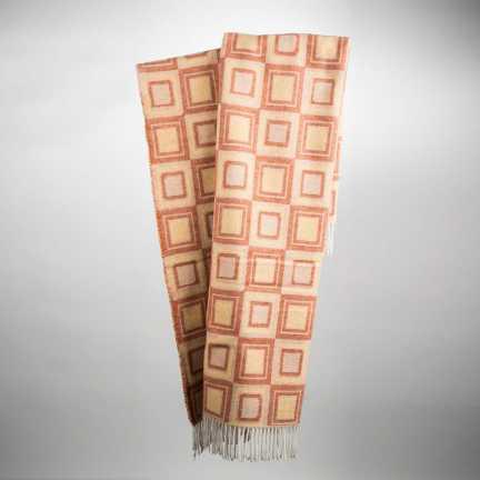 Art. Square Wool-Blend Blanket with fringes