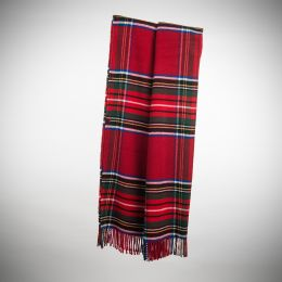 Art.Tartan Wool-Blend Blanket with fringes
