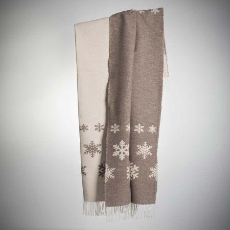 Plaid art. Snowing misto lana con frange