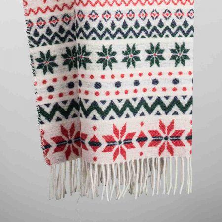 Plaid art. Xmas misto lana con frange