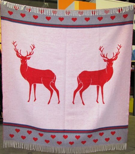 Art. Cervi Wool-Blend Blanket with fringes