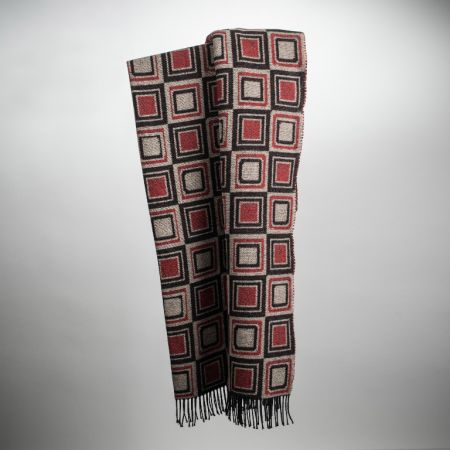 Art. Square Wool-Blend Blanket with fringes
