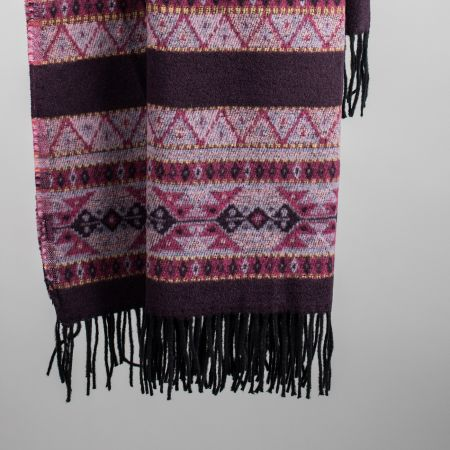 Plaid art. Ruby misto lana con frange