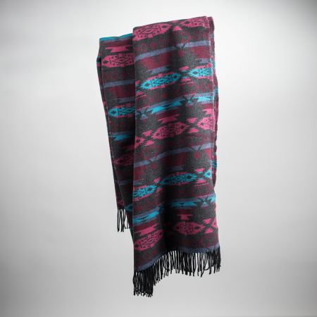 Art. Sioux Wool-Blend Blanket with fringes