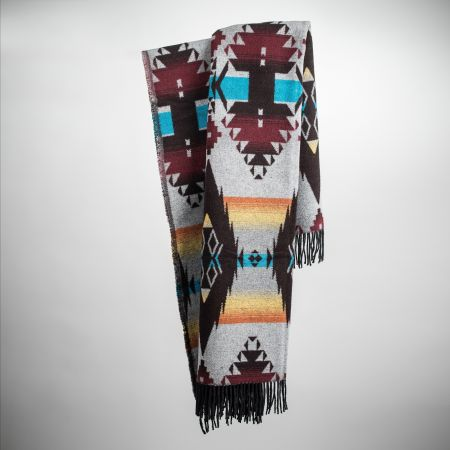Art. Apache Wool-Blend Blanket with fringes