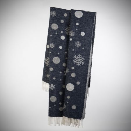 Plaid art. Fiocco di neve misto lana con frange